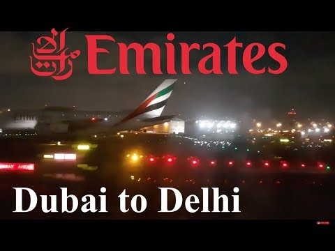 Emirates B777-300ER business class night landing in Delhi. DXB-DEL.