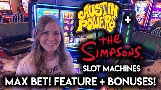 Austin Powers! Simpsons! Slot Machines!! BONUSES and Random Features!!