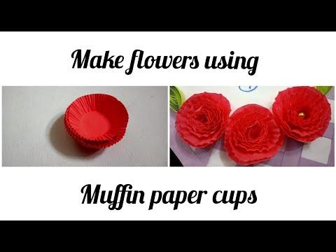 DIY flower    Make flowers using muffin paper cups    how to make flower using muffin paper cup
