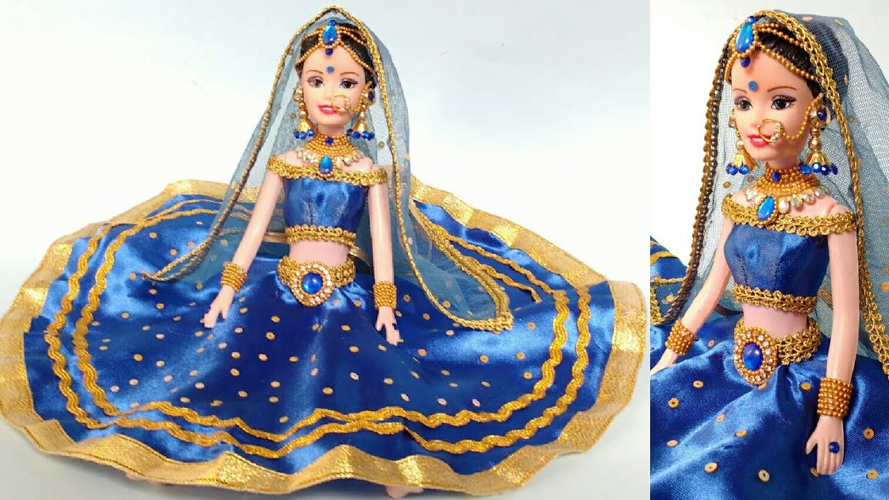 Barbie Doll Lehenga Making Barbie Doll Makeup Creative Craft