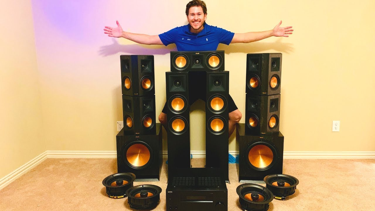 full klipsch 7 2 4 reference premiere dolby atmos theater room w samsung 75 q90r one man install
