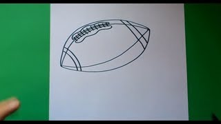 Como dibujar un balon de rugby paso a paso | How to draw a ball of rugby