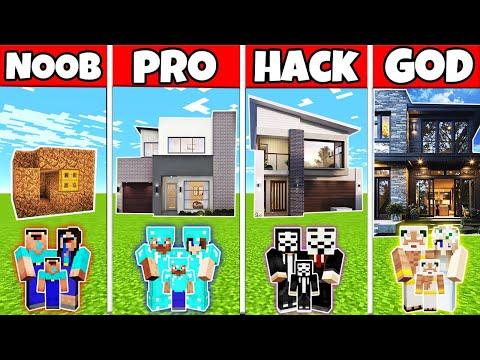 Minecraft: FAMILY NICE MODERN HOUSE BUILD CHALLENGE - NOOB vs PRO vs HACKER vs GOD in Minecraft