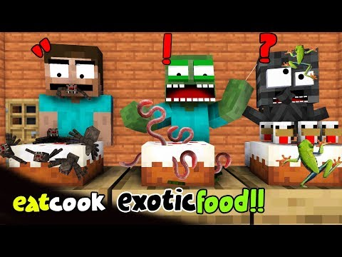 MONSTER SCHOOL : EATING AND COOKING EXOTIC FOOD CHALLENGE - FUNNY MINECRAFT ANIMATION