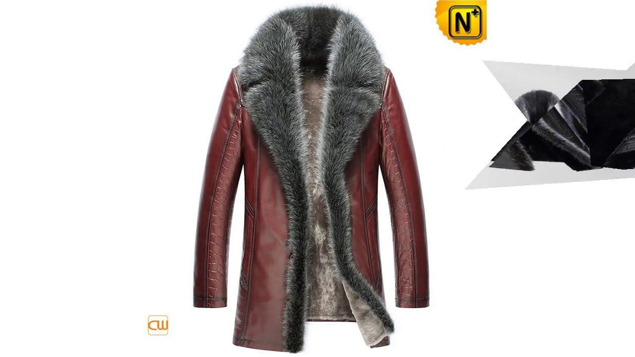 CWMALLS® Mens Fur Trim Shearling Leather Coats CW852556|jackets ...
