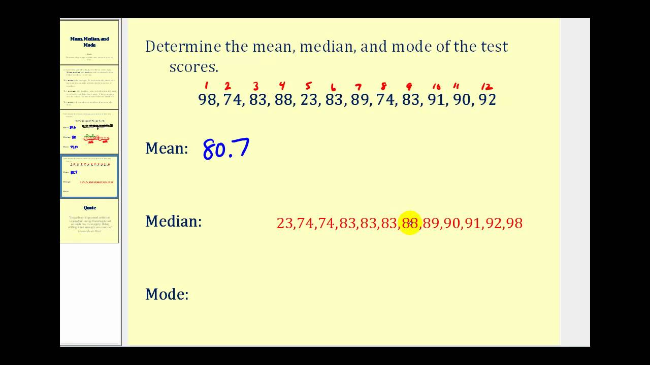 how to work out mean median and mode