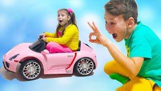ALİ ADRİANAYLA OYUNCAKLARI PAYLAŞAMADI Kids Pretend Play with New Magic Toys and Ride on Cars