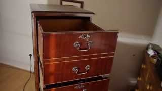 Reproduction Antique Brown Leather Top Mahogany Four Drawer Filing Cabinet