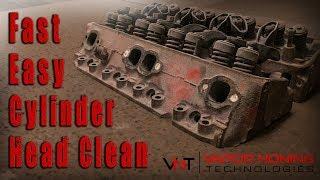 Stripping Engine Heads. Vapor Blasting Cast Iron Cylinder Heads. Dustless Wet Blasting Cast Iron.