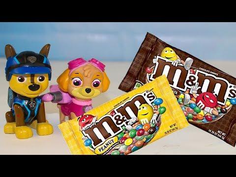 Щенячий патруль все серии подряд Сборник Мультики для детей Учим цвета с конфетами M&M's Мультфильмы