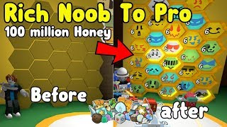 Rich Noob VS Bee Swarm Simulator #3! Noob To Pro! Made 180 Million Honey!