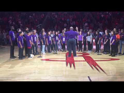 Humble Middle School Singing National Anthem & Houston Rockets Game