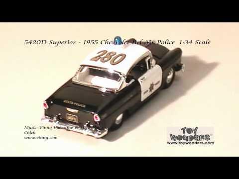 5420D Superior 1955 Chevrolet Belair Police 134 Diecast Wholesale