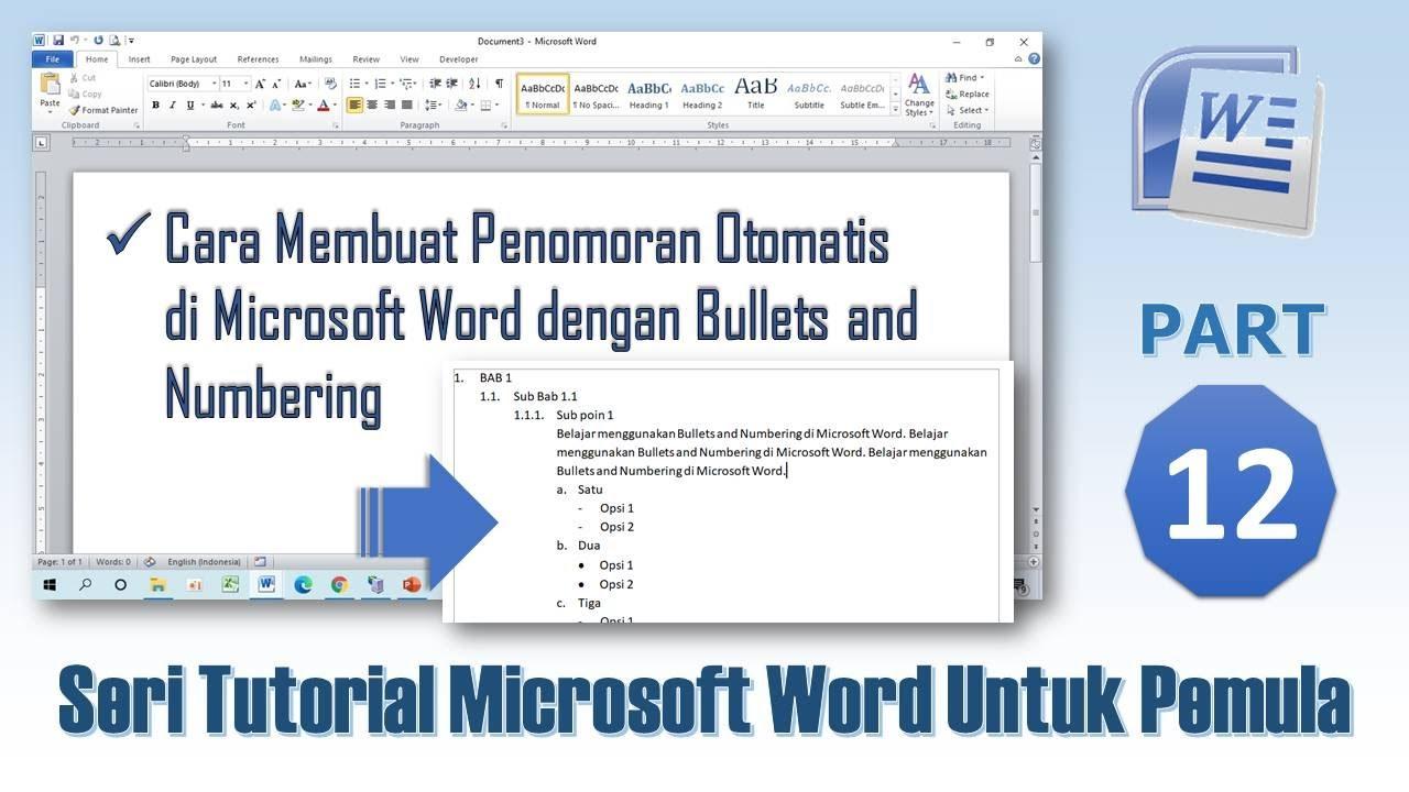 Cara Membuat Penomoran Otomatis di Word - Tutorial Ms Word Part 12