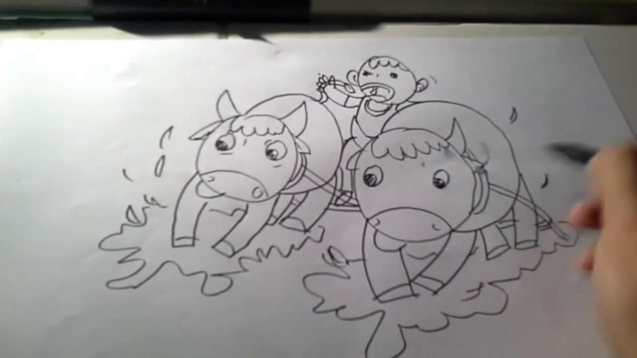 Video Tutorial Drawing For Kids Karapan Sapi Festival On Indonesia