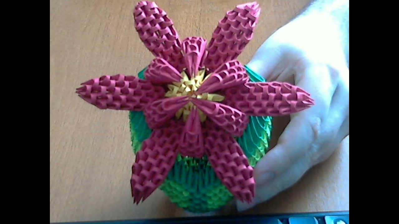 How to make 3d origami flower (model2) part 2 - YouTube - photo#12