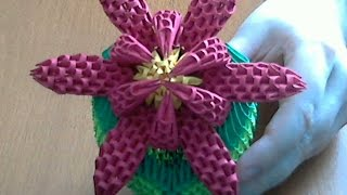How To Make 3d Origami Flower (model2)  Part 2