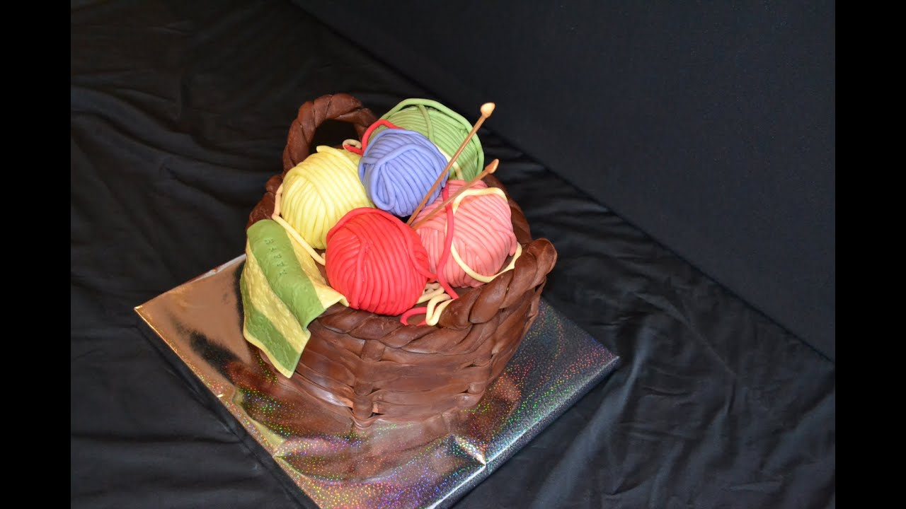 Knitting Cakes Images : How to make fondant basket cake knitting youtube