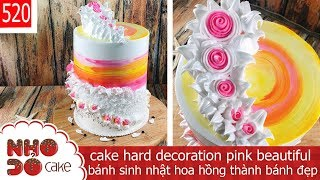 cake hard decoration pink beautiful - bánh sinh nhật hoa hồng thành bánh đẹp (520)
