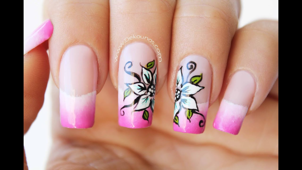 Decoraci n de u as flores sobre degradado flower nail for Decoracion de unas de rosas