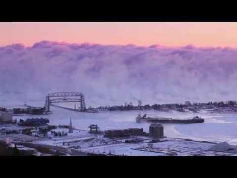 Sea Smoke Rolls Through Minnesota Port (Short)