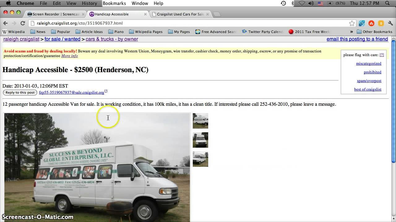 Craigslist Handicap Vans for Sale by Owner in North Carolina  YouTube