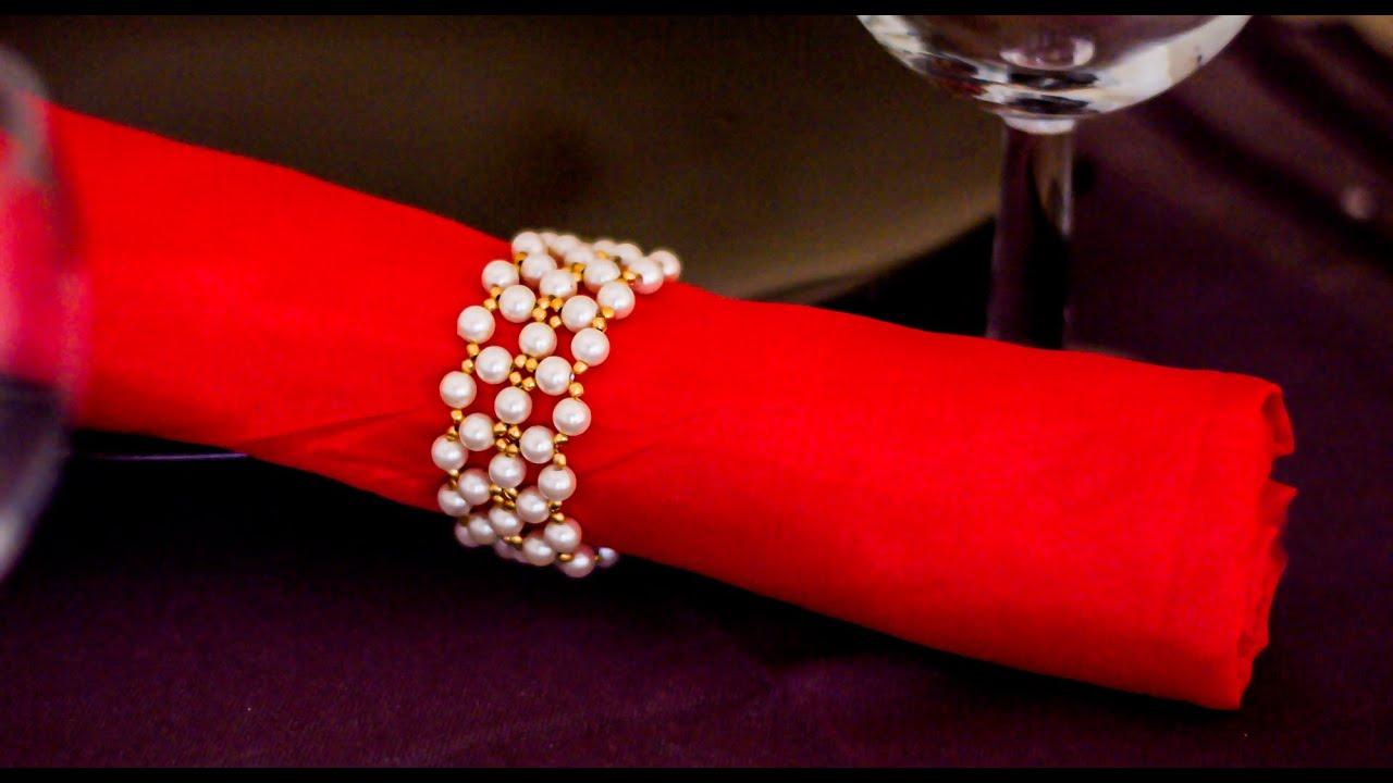 How to make pearl napkin ring   DIY napkin ring   Beads ...