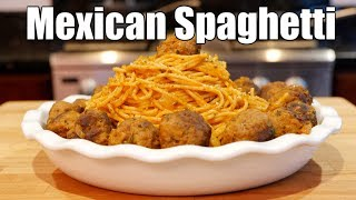 SPAGHETTI AND MEATBALLS WITH MEXICAN STYLE SEASONINGS AND CHEESE