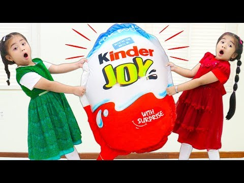 Suri & Annie Go On Giant Chocolate Kinder Joy Surprise Egg Hunt for Kids