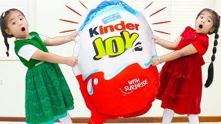 Suri &amp Annie Go On Giant Chocolate Kinder Joy Surprise Egg Hunt for Kids
