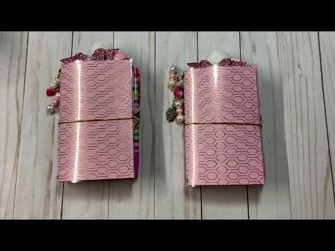 Pink and gold travelers notebook