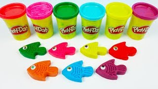 Learn Colors with seven Color Play Doh and Animals Molds Surprise Toys Surprise Eggs