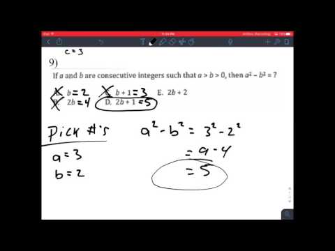 ACT Advanced 3 Notes Algebra & Choosing your own numbers
