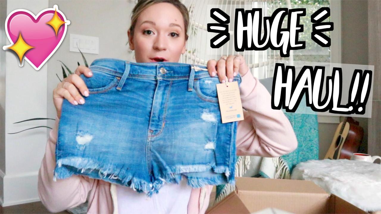 HUGE SPRING CLOTHING HAUL!! + I'M A HOLLISTER MODEL?! - YouTube