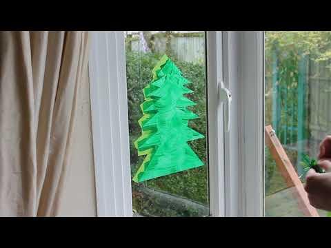 Peelable Glass Paint making a Christmas Tree
