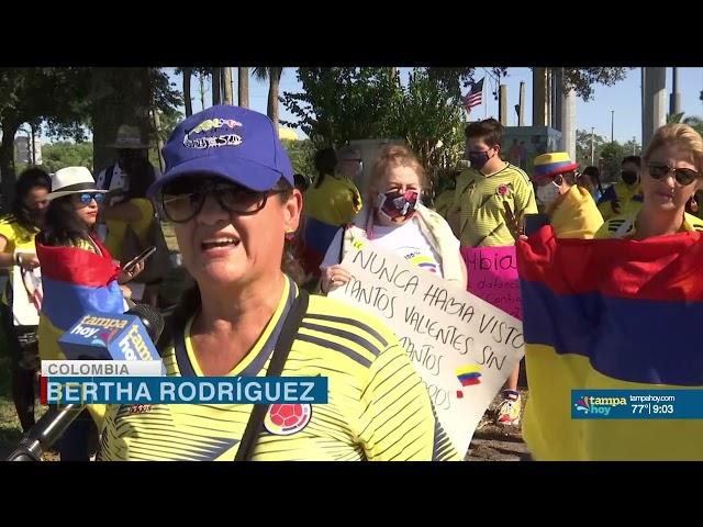 En contra de la violencia: Colombianos protestan desde Tampa