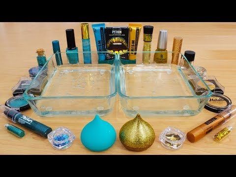 Teal vs Gold - Mixing Makeup Eyeshadow Into Slime Special Series 168 Satisfying Slime Video