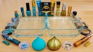 Teal vs Gold - Mixing Makeup Eyeshadow Into Slime Special Series 168 Satisfying Slime Video