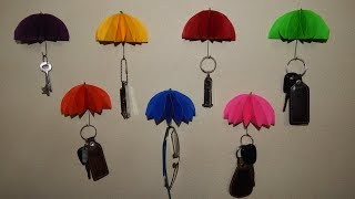 Umbrella key holder/ key wall hooks using paper for home decor (paper art)