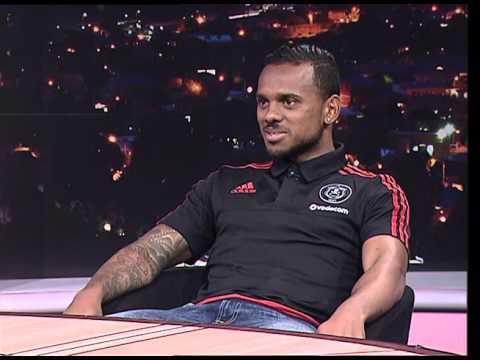 Thomas Mlambo, host of sport @ 10 interviews Pirates footballer Kermit Erasmus