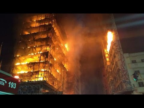 Towerblock collapses in Sao Paulo after fire
