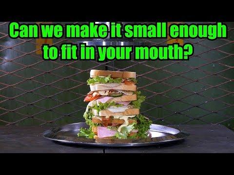 Crushing HUGE sandwich with Hydraulic Press