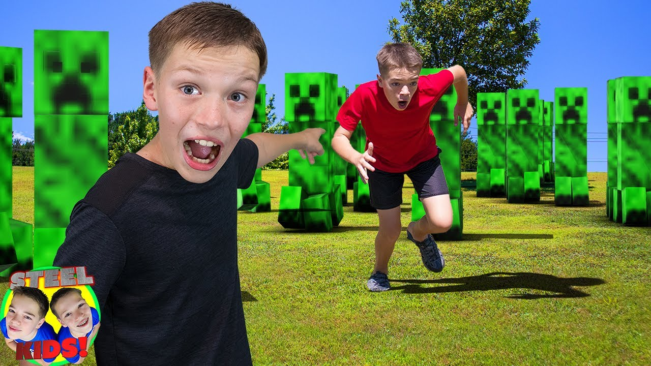 Creeper Army Invasion! Minecraft in Real Life Adventure! | Steel Kids