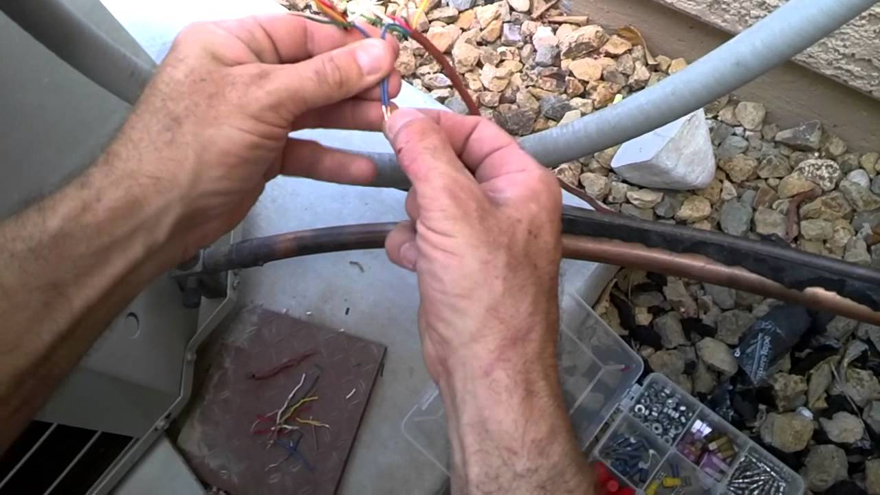 how to repair an air conditioner after the dog chews the thermostat wires diy thermostat wiring a c unit [ 1280 x 720 Pixel ]