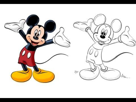 Como Dibujar y Pintar a Mickey Mouse - YouTube