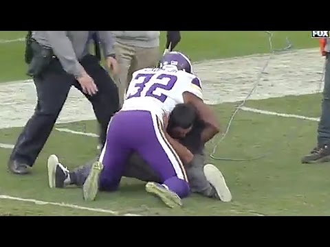 Vikings' Safety Antone Exum Tackles Drunk Fan on the Field