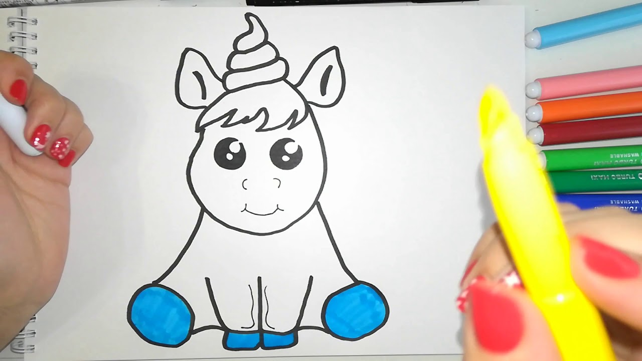 c7c68de60 Unicorn drawing and coloring for kids | ♡Top Kids Art♡ - YouTube