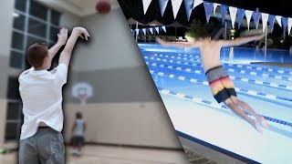 HALF COURT SHOT CONTEST | BELLYFLOP INTO POOL WAGER!