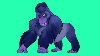 Learn Wild Animals | Gorilla video for kids| Jungle Zoo Animals Turn and Learn
