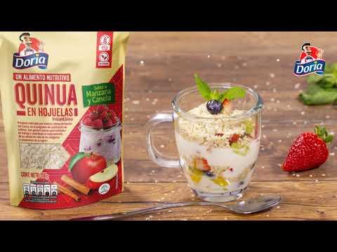 Parfait de frutas y quinua en hojuelas sabor a manzana y canela